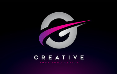 Creative G Letter Logo Design with Swoosh Icon Vector.