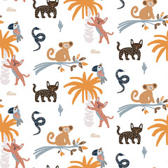 Cute jungle animals night scene seamless pattern vector. Childish cartoon background with monkey, jaguar and parrot.