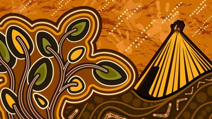 Aboriginal art vector painting depicting nature