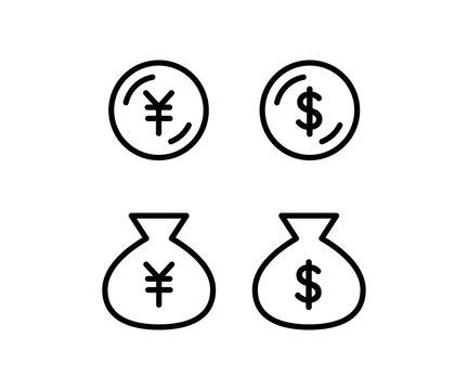 お金のアイコン、ビジネス、ドル、円、ピクトグラム