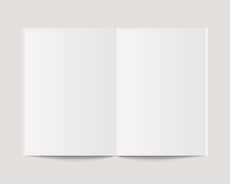 Blank open book, magazine and notebook mockup with soft shadow. Mockup vector isolated. Template design. Realistic vector illustration.
