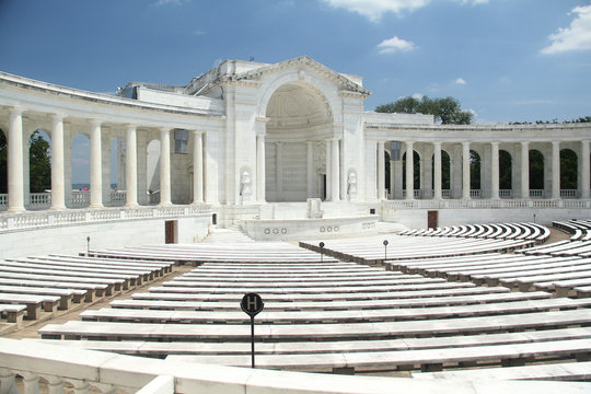 Arlington Memorial Amphitheater lit in the sunshine on a summer day