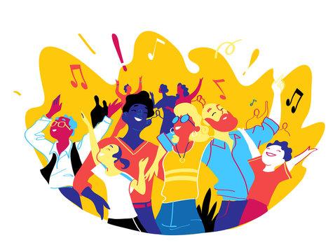 Gruppo di persone felici di diversa età sta insieme per celebrare un evento speciale. La famiglia, amici si stanno godendo concerto, festival musicale, festa, spettacolo - Illustrazione vettoriale