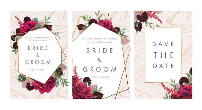 Wedding floral invitation, save the date card design with dark red roses, burgundy red astilbe, monstera, viola leaves & elegant golden geometric decoration. Geometric botanical vector design frame.