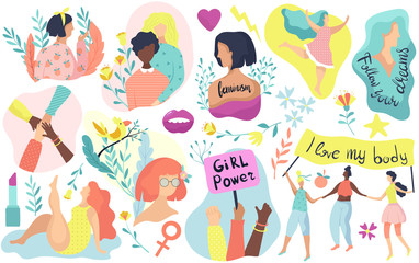 Feminism icons, women rights, girl power vector illustration. Set of isolated icons and stickers of feminists movement, woman activist protest. Feminism concept, modern woman inspirational icons