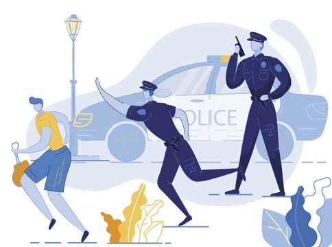 Policemen Chasing Robber Flat Vector Illustration. Thief Escaping with Stolen Purse, Handbag Cartoon Character. Cops Persecuting Criminal in Street. Police Officer with Walkie Talkie Reporting Theft