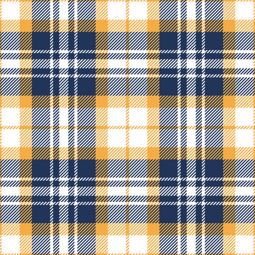 Plaid pattern background. Seamless bright multicolored vector tartan check plaid texture in medium blue, yellow, and white for flannel shirt, scarf, blanket, and other modern fabric design