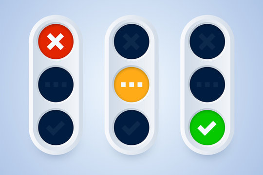 Traffic light signs in 3d style. Cross, checkmark signs on green, yellow and red background. Vector illustration.