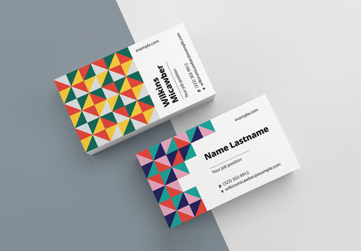 Business Card Layout with Abstract Pattern