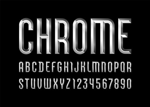 Chrome alphabet from chiseled block, font with effect of metallic, beveled letters and numbers, vector illustration 10EPS for you design
