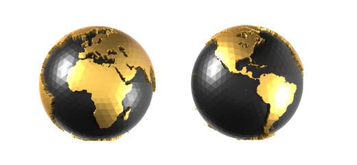 globes terrestres noirs et dorés sur fond blanc Fototapete