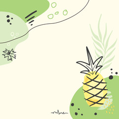 Modern abstract pineapple art vector background.