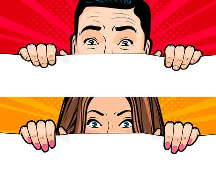 Man and woman looking. Retro comic pop art vector illustration