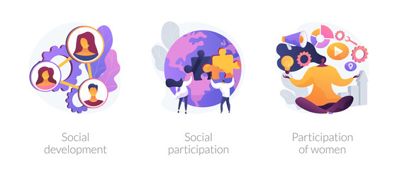 Obraz Social engagement metaphors. Participation in society, community involvement, social group. Participation of women. Norms of behaviour abstract concept vector illustration set. - fototapety do salonu
