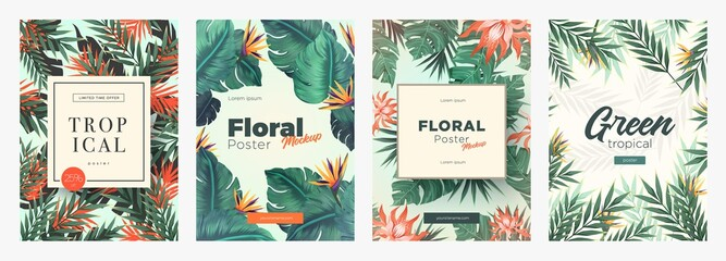 Set of Bright tropical backgrounds with jungle plants. Exotic patterns with tropical leaves Wall mural