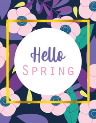 Wall Mural - hello spring, round banner flowers foliage season background
