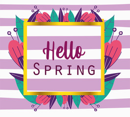 Wall Mural - hello spring, phrase banner flowers decoration stripes background