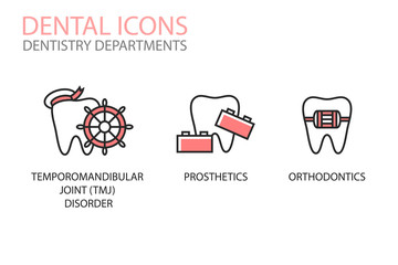 Dental icons. Temporomandibular joint (TMJ) disorder, prosthetics, orthodontics isolated on white. Dentistry departments  illustrations. Tooth logotype. Teeth care.