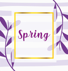 Wall Mural - hello spring, purple phrase leaves decoration background