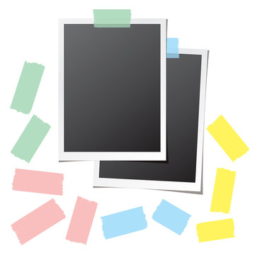 Retro photo cards fixed on white background and collection of colorful sticky tape pieces. Paper frame template with blank space for your image. Detailed vector eps10 illustration with transparency.