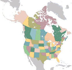 North America map with USA and Canada