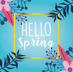 Wall Mural - hello spring, flowers branches foliage nature seasonal decoration banner