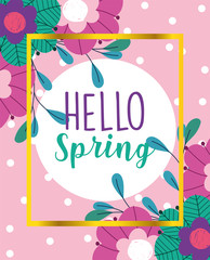 Wall Mural - hello spring, delicate flowers bloom nature banner design