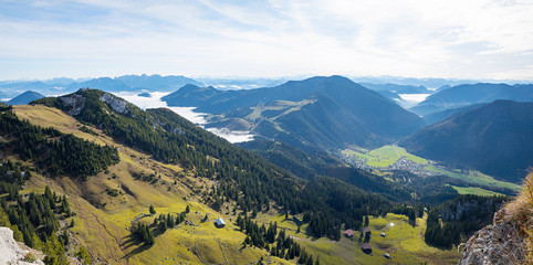 Fotobehang Alpen panorama view from Wendelstein mountain, green pasture in the bavarian alps and valley