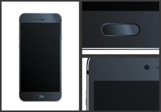 Black Smartphone Mockup Illustration Isolated Phone Screen Vector