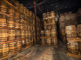 Rum barrels ready for transportation in Nicaragua