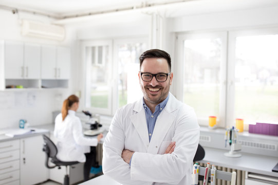 Male doctor in laboratory