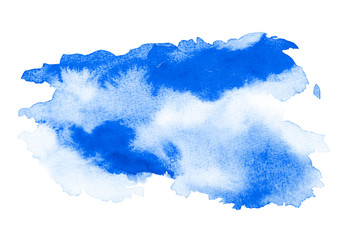 Wall Mural - Abstract blue watercolor background. The color splashing on the paper. Hand drawn.