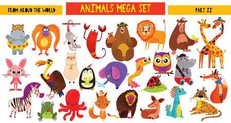 Big collection of cute cartoon animals around the world. Part II. Set of wild and woodland animals characters isolated on white background.