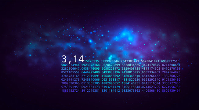Pi day. Science Space Illustration. Iinfinitely concept