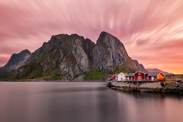 Fascinating, colorful sunrise at Hamnoy, Lofoten islands, Norway.