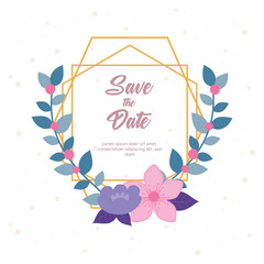 Wall Mural - flowers wedding, save the date, invitation card flowers nature leaves