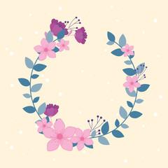 Wall Mural - flowers wedding, wreath flourish leaves foliage ornate decoration