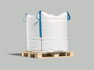 White big bag or sack on pallet. Isolated object on light background. Mockup for design. 3d render