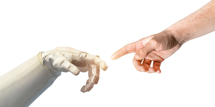Hand of human and bionic robonaut on white isolated background. Technology and medicine. Elements of this image furnished by NASA.