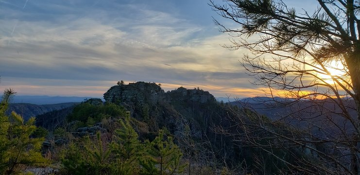 Sunset in the Linville Gorge Wilderness in North Carolina