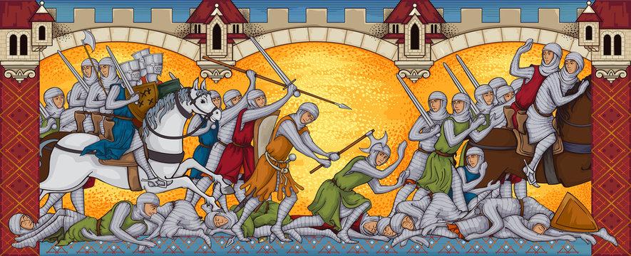 Medieval battle.Ancient manuscript.Battlefild.Knights attack.Old style book miniature.