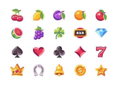 Classic slot machine symbol collection. Casino flat icons