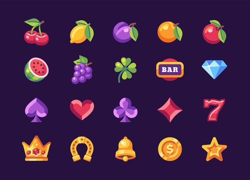 Classic slot machine symbol collection on dark background. Casino flat icons
