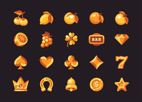 Classic gold slot machine symbol collection on dark background. Casino flat icons