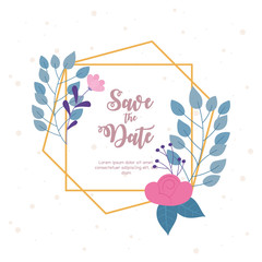 Wall Mural - flowers wedding, save the date, invite decorative flowers leaves