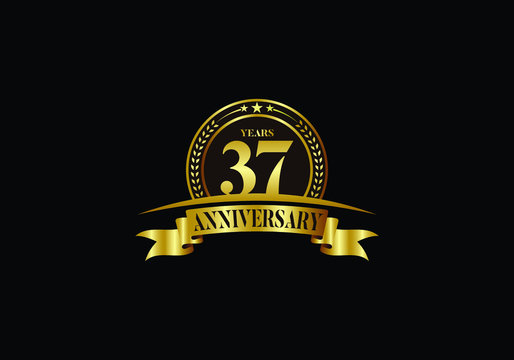 37th years anniversary logo template, vector design birthday celebration, Golden anniversary emblem with ribbon. Design for a booklet, leaflet, magazine, brochure, poster, web, invitation or greeting