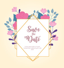 Wall Mural - flowers wedding, save the date, ornate frame floral foliage decoration card