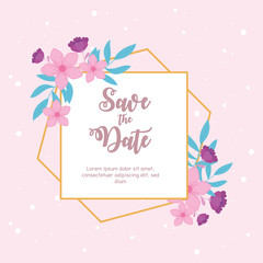 Wall Mural - flowers wedding, save the date, ornate texture decoration banner