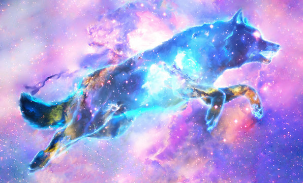 Abstract Digital Paint Of A Colorful Wolf In A Colorful Galactic Background