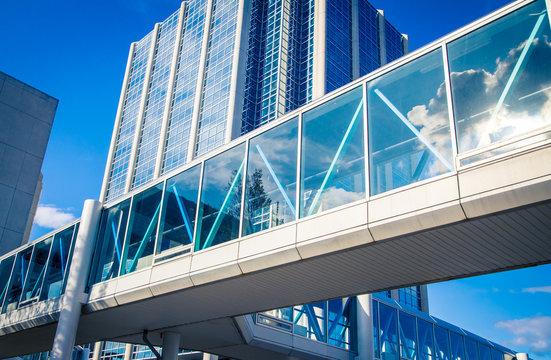 glass pedway between buildings in Halifax